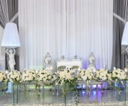 head table with purple light