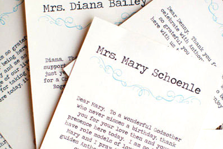 Wedding Tradition Twists - Personalized Escort Cards