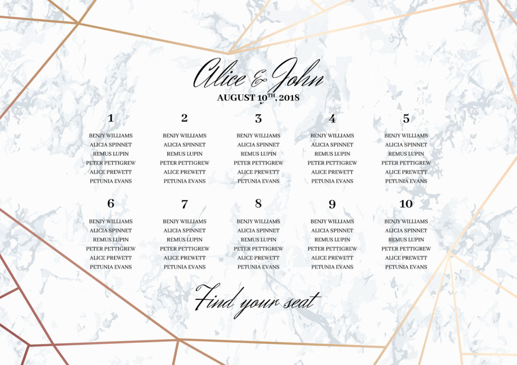 wedding seating chart - wedding reception seating
