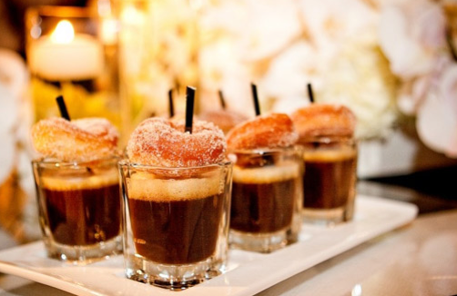 coffee and donuts - late-night wedding snacks