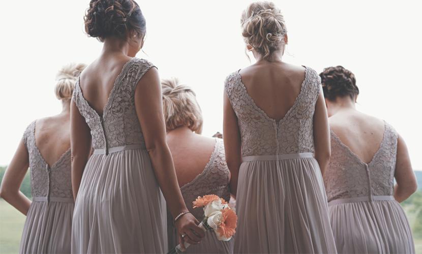 Bridesmaid Etiquette - Back View Of Bridesmaids Standing
