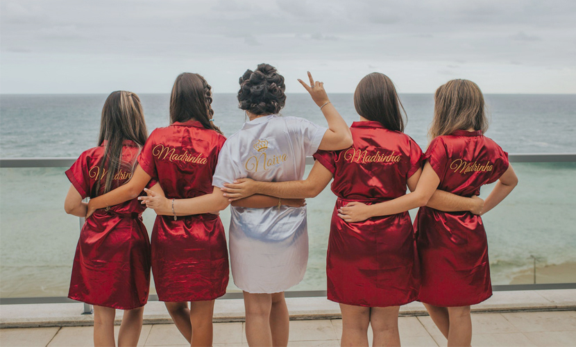 Bridesmaid Etiquette - Back View Of Bridesmaids Wearing Red Robes