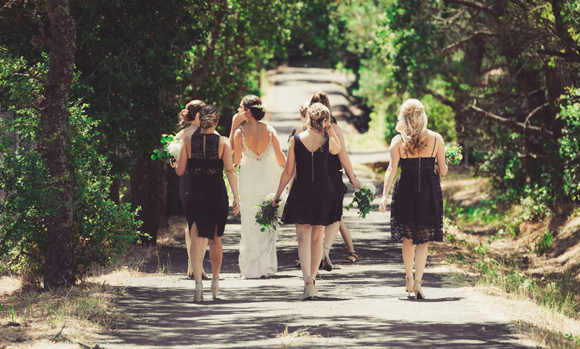 Bridesmaid Etiquette - Back View Of Bridesmaids Walking Down Path