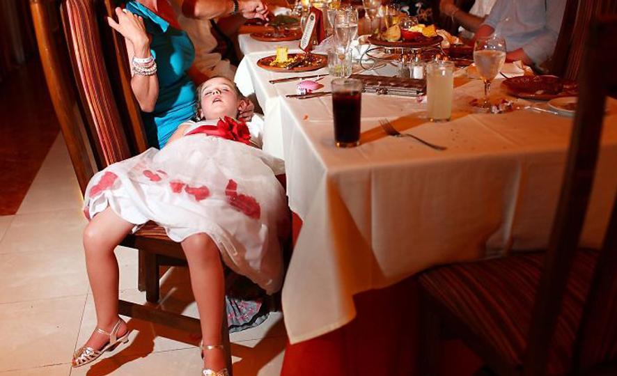 Adults Only Wedding - Little Girl Asleep at Wedding Reception