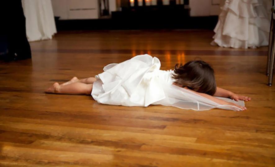 Adults Only Wedding - Little Girl Lying on Dance Floor