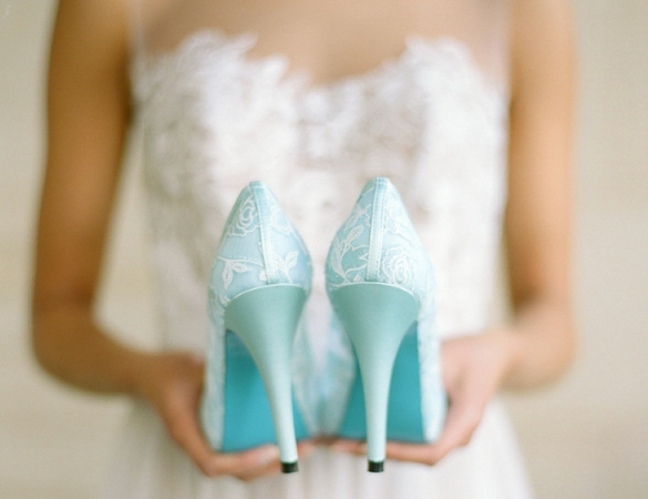 Wedding Shoes - Bride Holding Blue Wedding Heels
