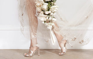 Wedding Shoes - Bride Walking In Nude Heels Carrying Bouquet