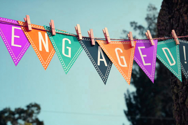 Engagement Party Decoration - Multicolored Flag Pennants