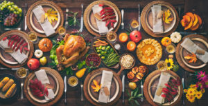 Thanksgiving feast on table.
