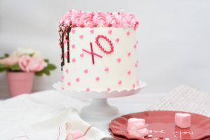 Cake with heart decorations